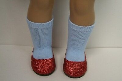 RUBY RED Glitter Slipper Flats BLUE SOCKS Doll Shoes For 18 American Girl (Debs)