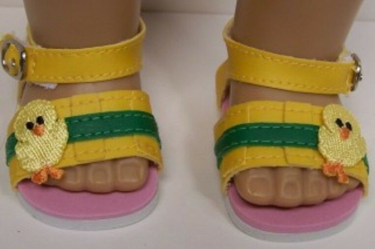 "Baby CHICK Yellow-Green Stripe Sandals Doll Shoes For 18"" American Girl (Debs)"