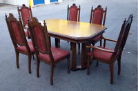 Solid wood antique dining room table, leaf and 6 chairs set