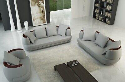 Ledersofa Sofagarnitur 3+2+1 Couch Sitz Polster Sofa Garnitur Set Neu Royal Grau