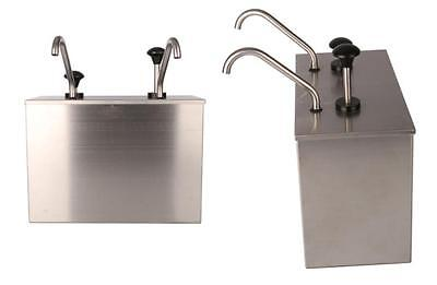 2 Bucket Sauce Dispenser Pump Squeeze Condiment Dispensing Stainless Steel E
