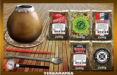 Yerba Mate Kits (Sensational Yerba Mate Tea Set with 5x100g of different kinds + accessories kit)