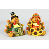 Youngs Fall Decor - Mr. and Mrs. Harvest Thanksgiving Turkey #85224