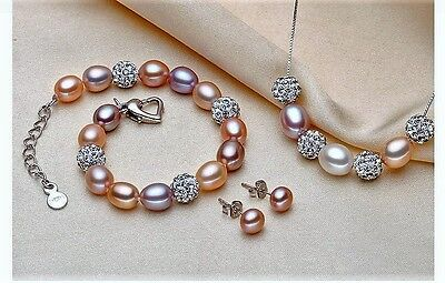 SetSilberkette Ohrring und Armband+Echt 925 Sterling Silber+ Süsswasser Perlen