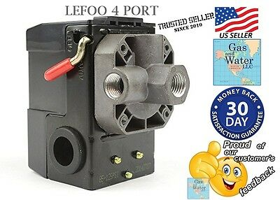 Air Compressor Pressure Switch Control 95-125 psi 4 PORT w/Unloader 20A by LEFOO