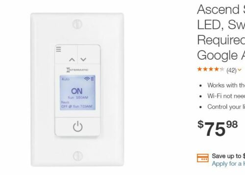Intermatic STW700W Ascend Smart 7-Day LED Switch/Timer No Hub Required .