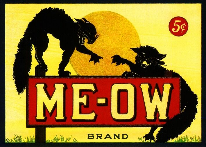 Meow Me-Ow Black Cat Cats Halloween Crate Box Label Art Print Poster