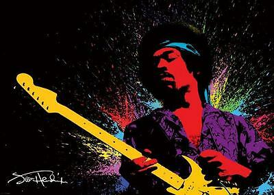 1970S Jimi Hendrix With Guitar Black Light Poster Replica Magnet   New