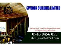 High quality skimming, tiling, wallpapering, laminate, flooring, painting and bathroom