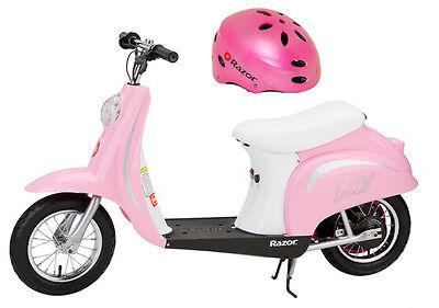 Razor Pocket Mod Bella 24V Electric Girl Scooter and Pink Youth Safety Helmet