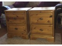 pair Solid wood bedside draws with pull out table