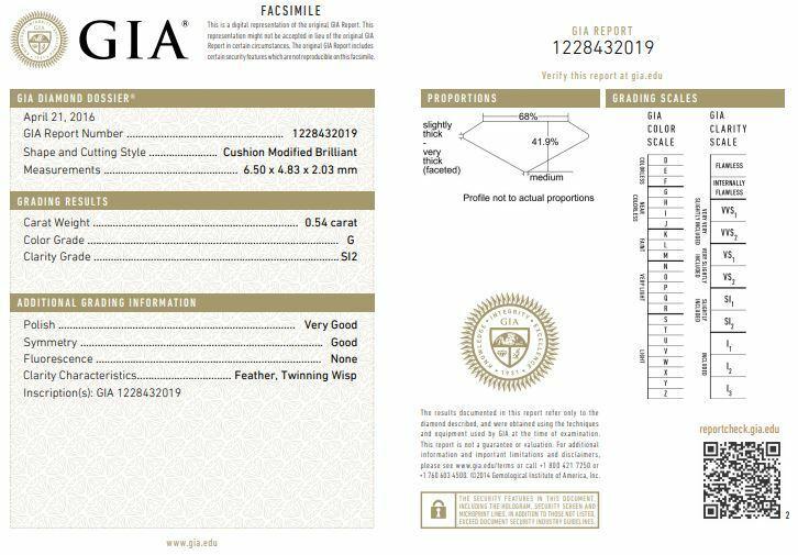 $5,150 S&S 14K White Gold 1.14ct GIA SI2 Cushion Diamond Halo Engagement Ring 6 1