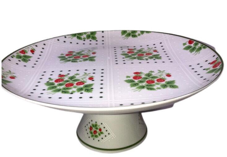 Vtg 1975 Enesco Pedestal Cake Stand Swiss Strawberry Dot Porcelain Exc!