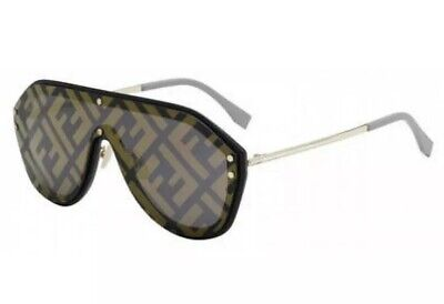 Fendi FABULOUS FF M0039 GS 2M2 7Y Black Grey Gold Mirror Men Women Sunglasses