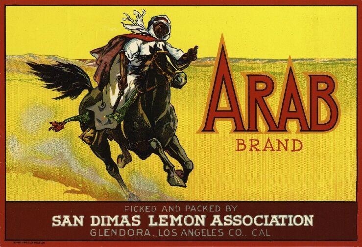 Glendora Arab Arabian Lemon Citrus Fruit Crate Label Vintage Art Print