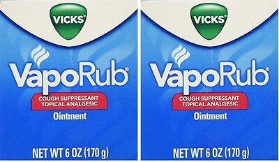 2 Pack 6 Oz Vicks Vaporub Vapo Rub Chest Rub Jar Cough Su...