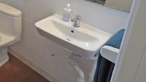 Wall mounted sink and taps