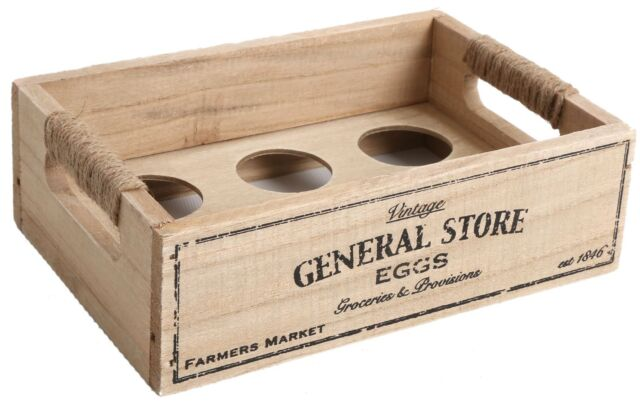 General Store Shabby Chic Vintage Style Wooden Egg Crate Holder