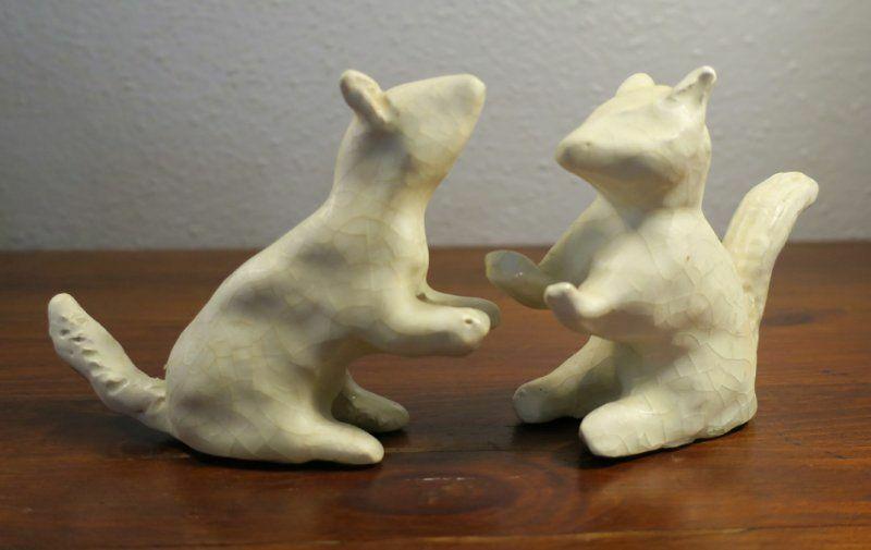 Pair White Pottery Squirrel Figurines Stylized Vintage/Antique Studio