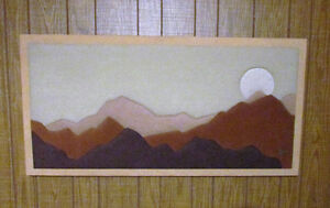 Vintage Fabric Mosaic Wall Art: Mountain-Sunset Soft Art by Stef Kitchener / Waterloo Kitchener Area image 2
