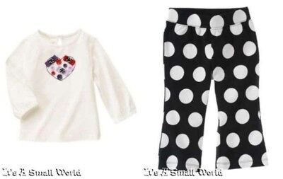 Gymboree Winter Penguin Button Heart Tee & Polka Dot Knit Pant Set 12 18 mo NWT Polka Dot Tee-set
