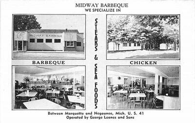 Marquette Michigan Negaunee Midway Barbecue Kropp roadside Postcard 21-8121