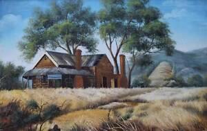 Large Framed Oil Painting Landscape & Homestead - Signed Batemans Bay Eurobodalla Area Preview