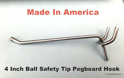 (1000 Pack) USA Made 4 inch Metal Peg Hooks. For 1/8 or 1/4 Pegboard or Slatwall