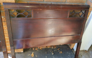 Antique Headboard/ Foot Board With Solid Wood Frames -Single Bed