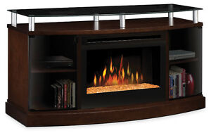 Dimplex Windham TV stand with glass ember firebox