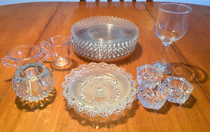 16 Crystal Glass Pieces ($2 & Up) - Dishes, Candle Holders, etc
