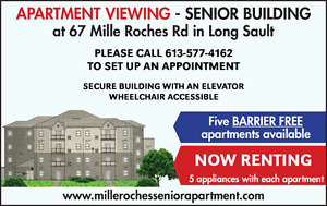 NEW SENIOR APARTMENT FOR RENT in Long Sault, ON