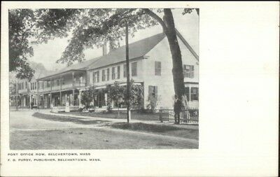 Belchertown MA Post Office Row c1910 Postcard