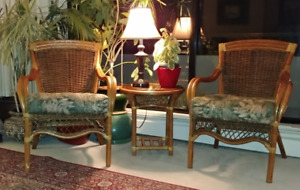 2 High Quality Indonesian Rattan Chairs with Matching Round Tabl