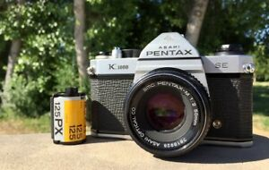 Asahi Pentax K1000 35mm Film Camera with Lenses and Accessories
