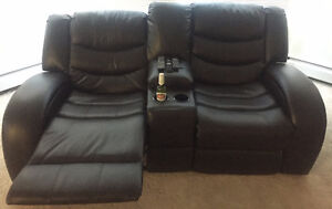 Black Two-seat Recliner Couch with Cup Holders