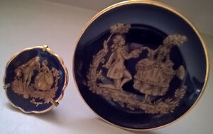 Vintage Limoges Miniature Cobalt Blue Porcelain Gold Trim Plates