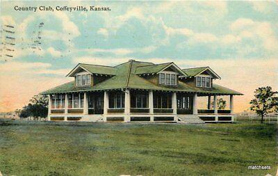 1911 Coffeyville Kansas Country Club Kress Postcard 10429