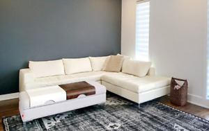 EQ3 OFF WHITE LEATHER COUCH