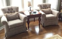 Three piece sofa set with matching chairs