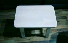 Ikea wooden stool and Habitat Macadam Metal Folding Chair - Blue