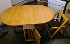 Solid wood butterfly Table with 4 chairs