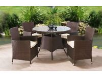 **FAST AND FREE UK DELIVERY** 5-Piece Round Table Rattan Garden Conservatory Furniture OVER 50% OFF!