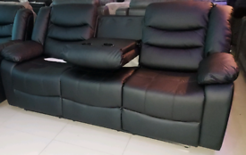 Black leather Recliner 3+1 Seater Sofa set New free local delivery