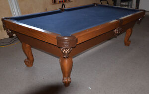 Pool Table 8' Slate Installed With 12 Month Warranty & New Cloth