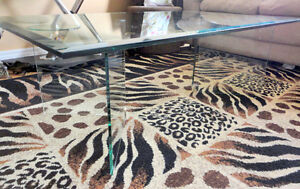 Large beveled glass top with glass base coffee table for sale London Ontario image 1