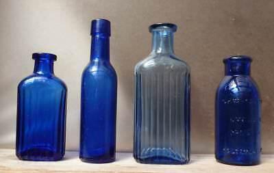 FOUR SUNROOM DECORATOR BOTTLES-Cobalt Blue-Bromo Seltzer-Poison-1890s-1915