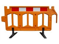 Firmus Plastic/Polyethylene Pedestrian Barriers 2m x 1m Reflective strip stackable