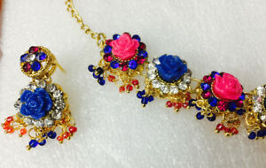 Blue, Pink, Gold-colored floral necklace and earrings