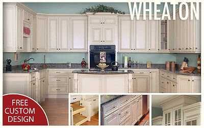 All Honest-to-God Maple Wood KITCHEN CABINETS 10x10 RTA Wheaton Cream Painted Maple